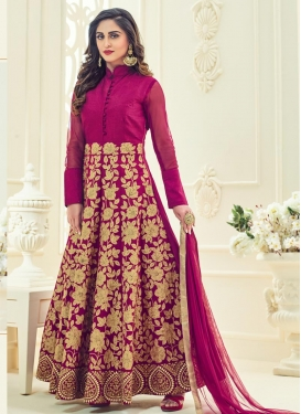 Paramount Embroidered Work Art Silk Long Length Anarkali Suit