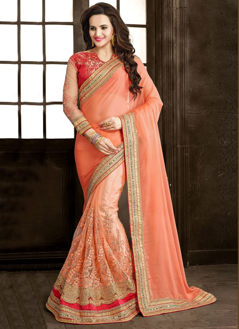 Paramount Embroidery And Mirror Work Half N Half Wedding Saree