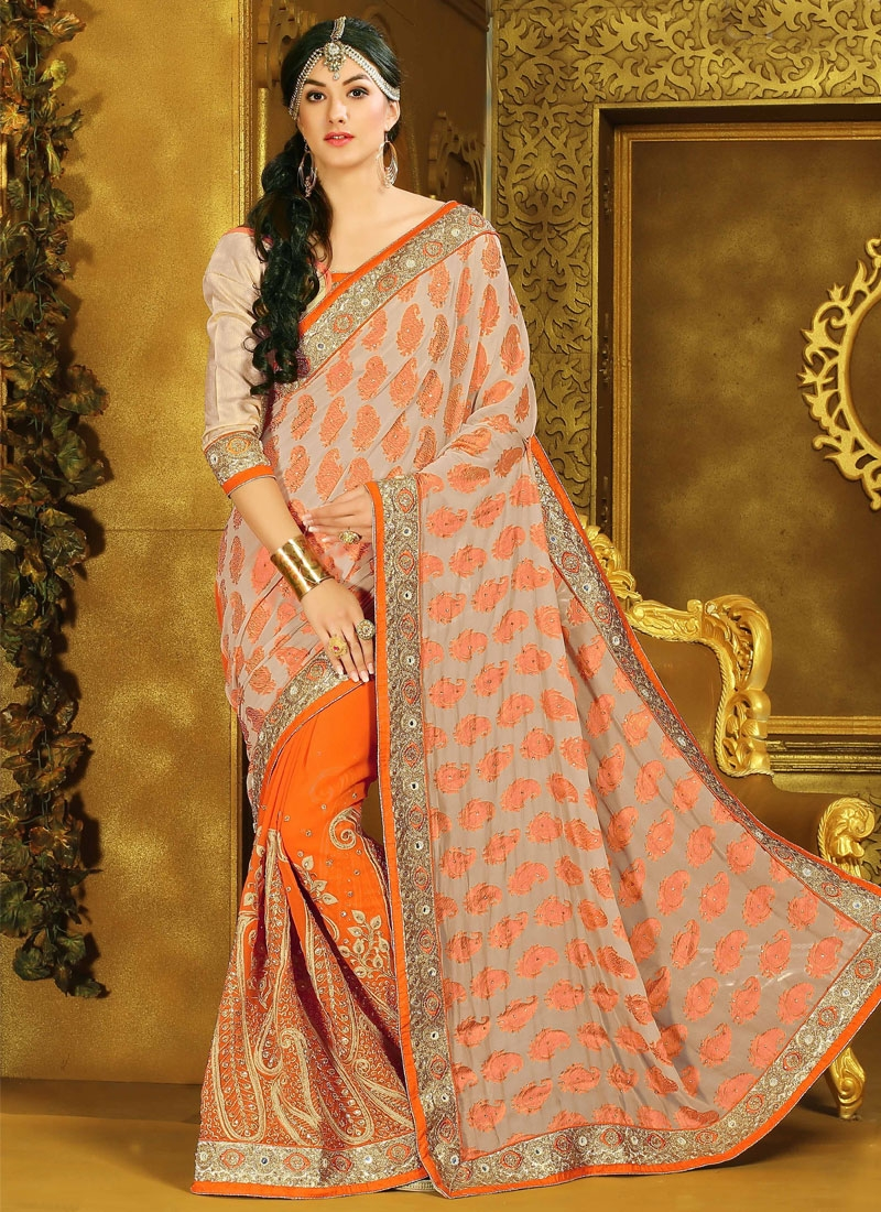 Paramount Embroidery Work Orange Color Half N Half Wedding Saree