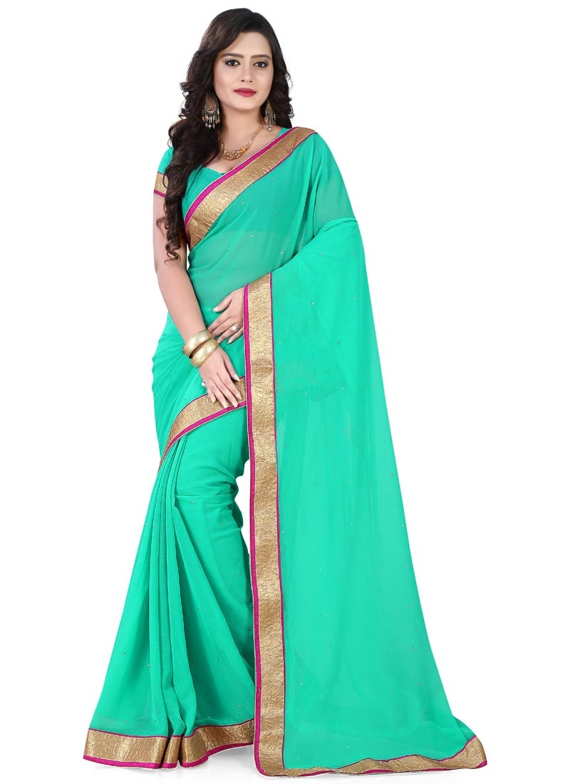 Paramount Faux Chiffon Turquoise Color Casual Saree
