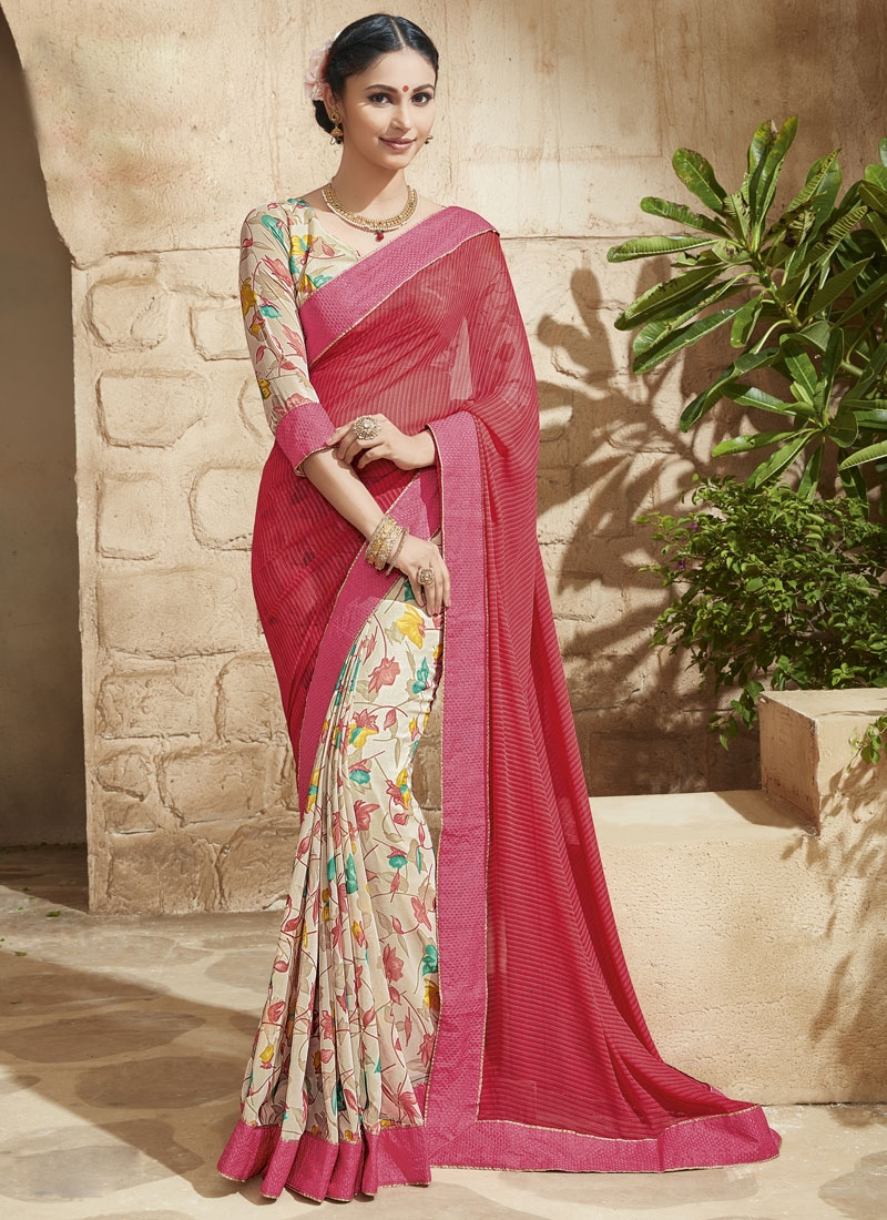 Paramount Faux Georgette Half N Half Party Wear Saree