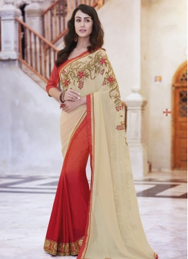 Paramount Floral And Lace Work Half N Half Designer Saree