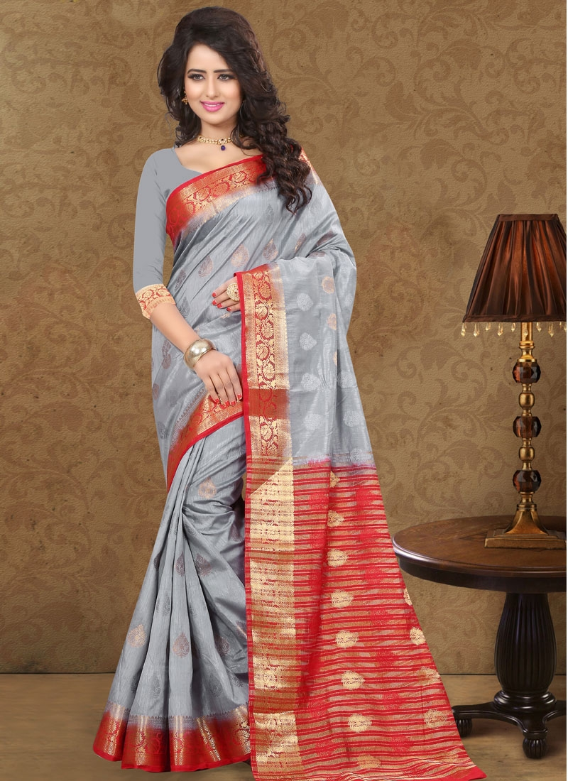 Paramount Grey And Red Color Party Wear Saree