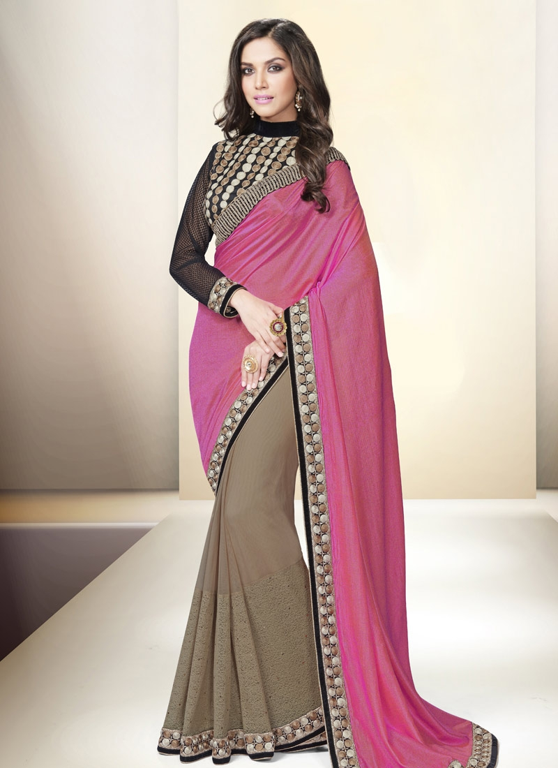 Paramount Hot Pink Color Resham Work Half N Half Party Wear Saree