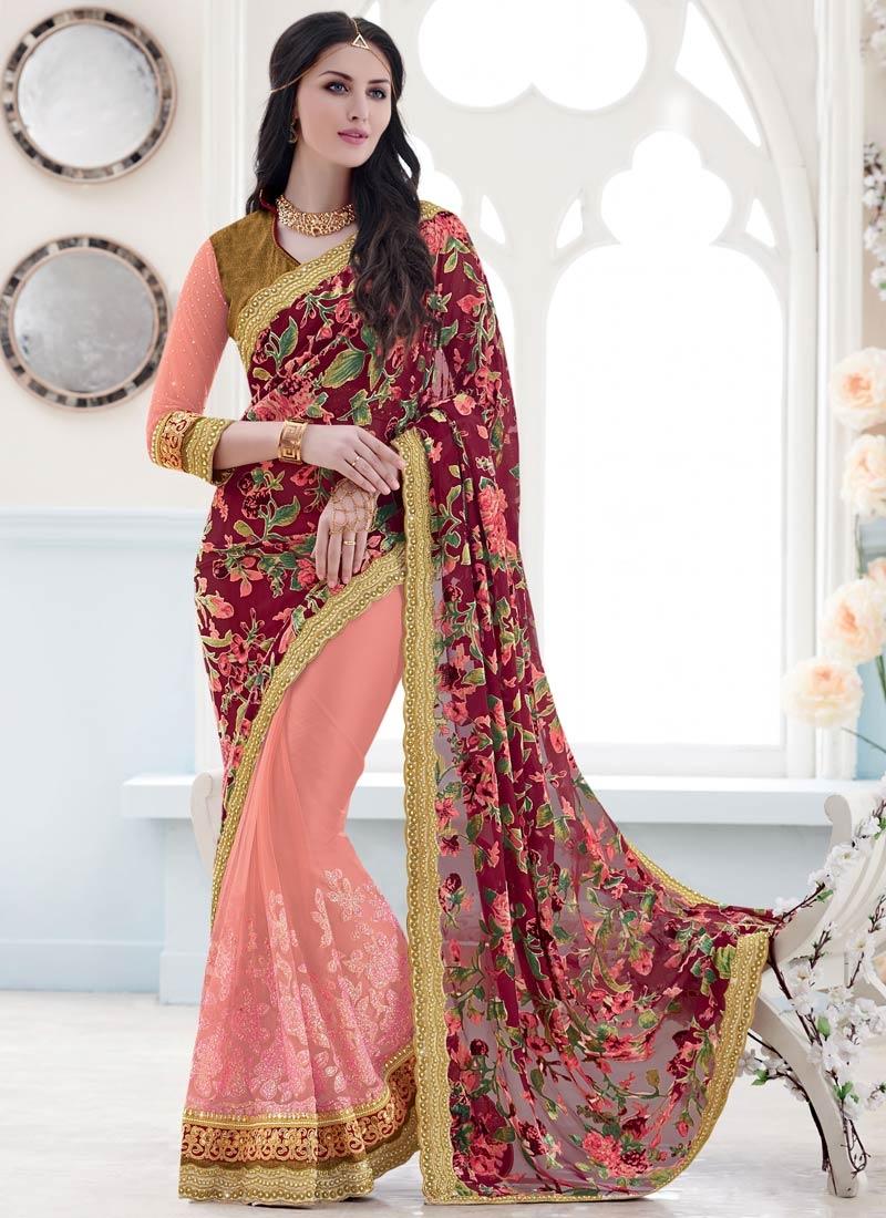 Paramount Lace And Beads Work Half N Half Designer Saree