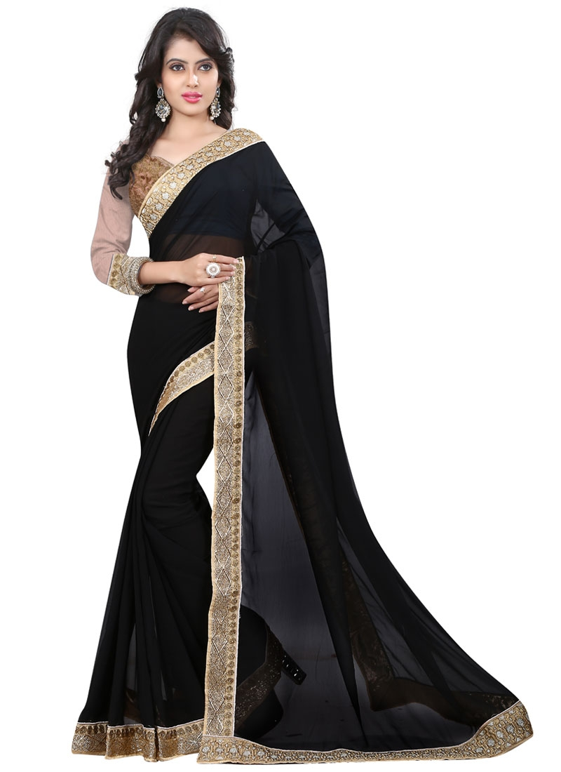 Paramount Lace Work Black Color Party Wear Saree