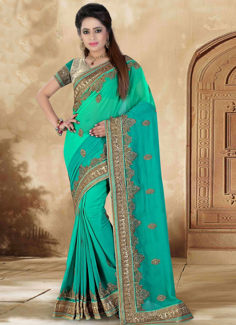 Paramount Mirror And Resham Work Wedding Saree