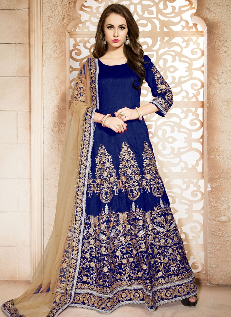 Paramount Navy Blue Color Booti Work Ankle Length Wedding Suit
