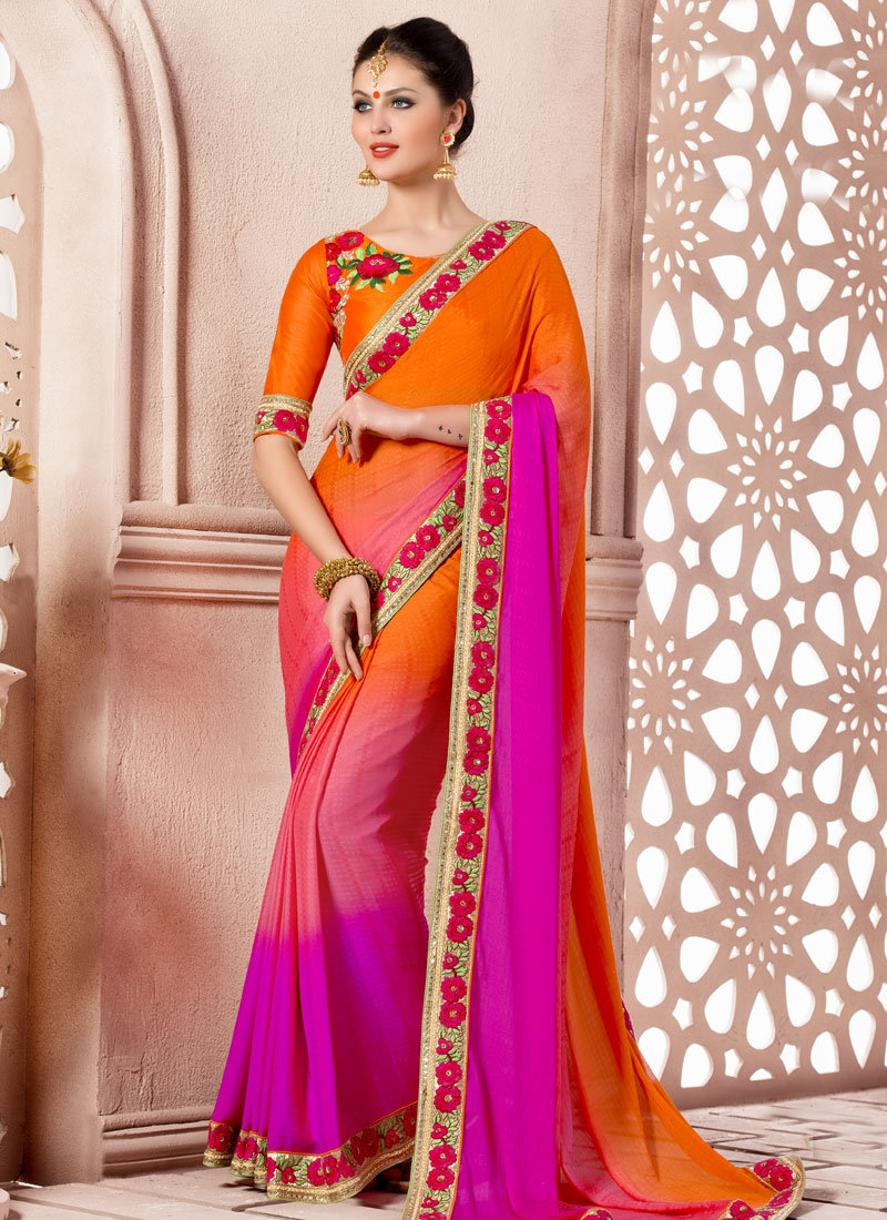 Paramount Orange Color Satin Party Wear Saree