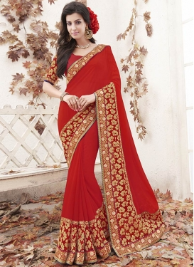 Paramount Patch Border Work Red Color Party Wear Saree