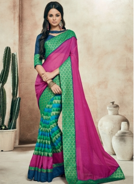 Paramount Printed Half N Half Party Wear Saree
