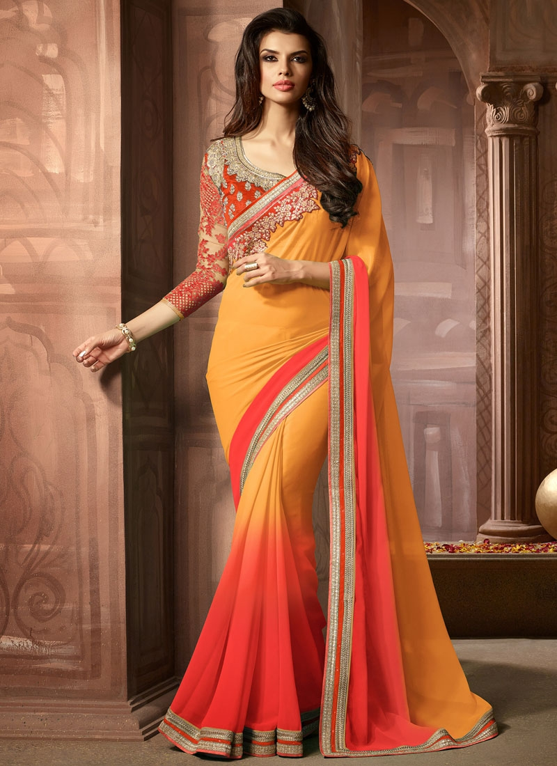 Paramount Resham And Lace Work Party Wear Saree