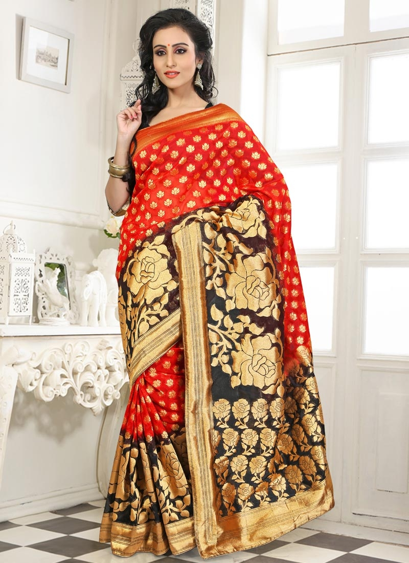 Paramount Resham Work Red Color Party Wear Saree