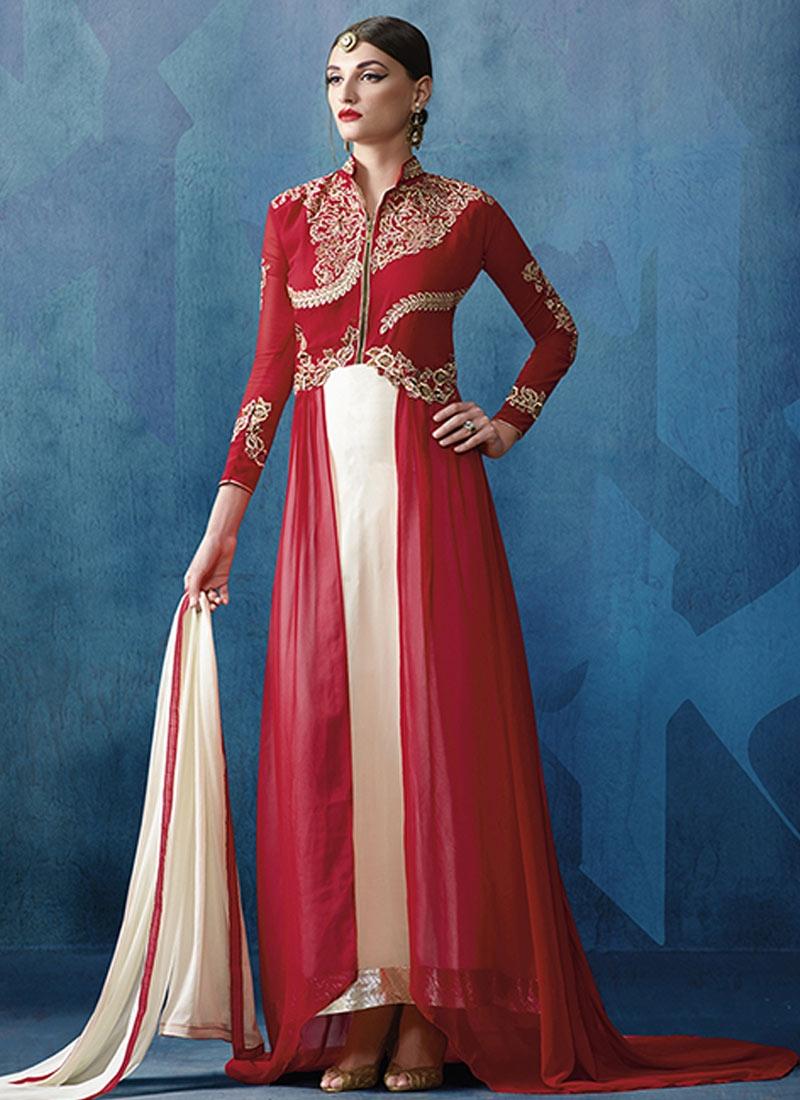 Paramount Stone Work Red Color Designer Salwar Suit