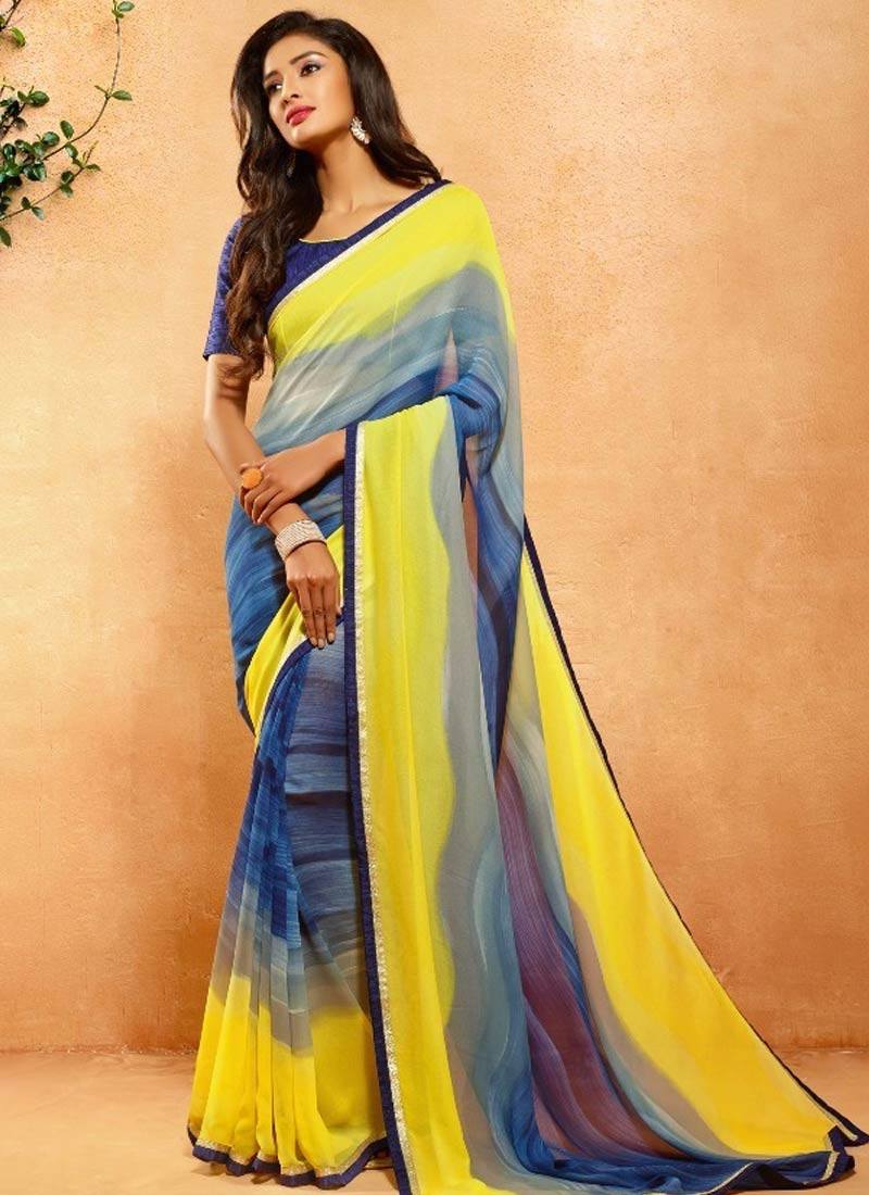 Paramount Yellow And Blue Color Casual Saree