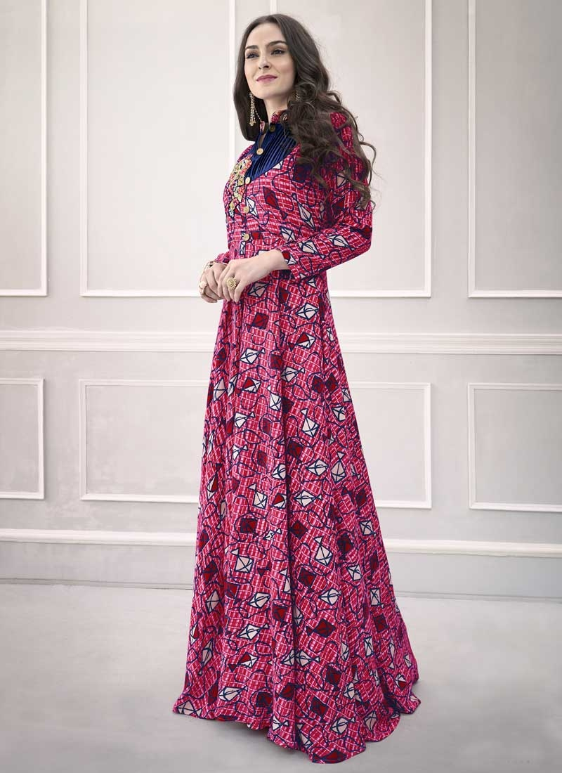 Pasmina Blue and Rose Pink Readymade Classic Gown