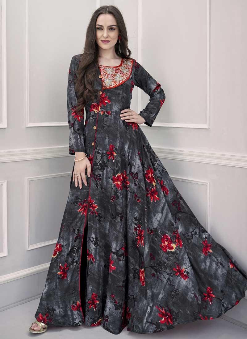 Pasmina Cutdana Work Readymade Long Length Gown