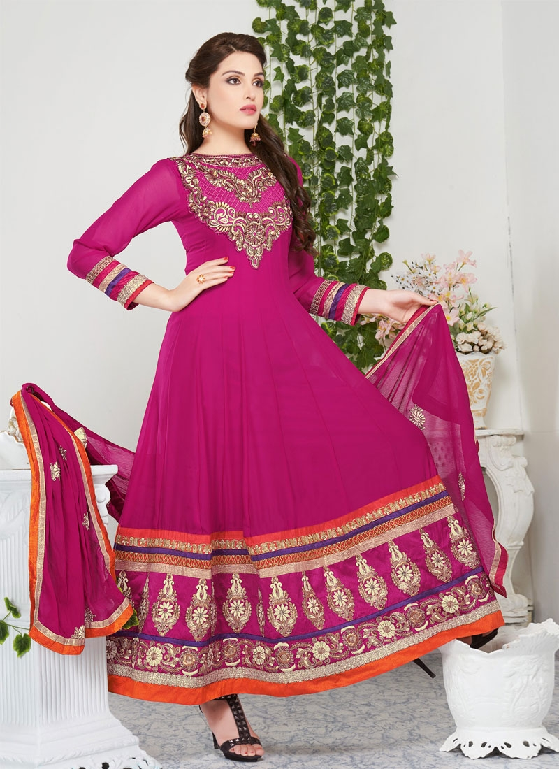 Passion Magenta Color Georgette Churidar Salwar Kameez