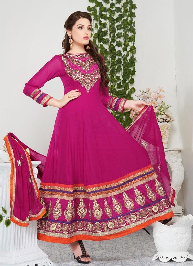 Passion Magenta Color Georgette Churidar Salwar Kameez