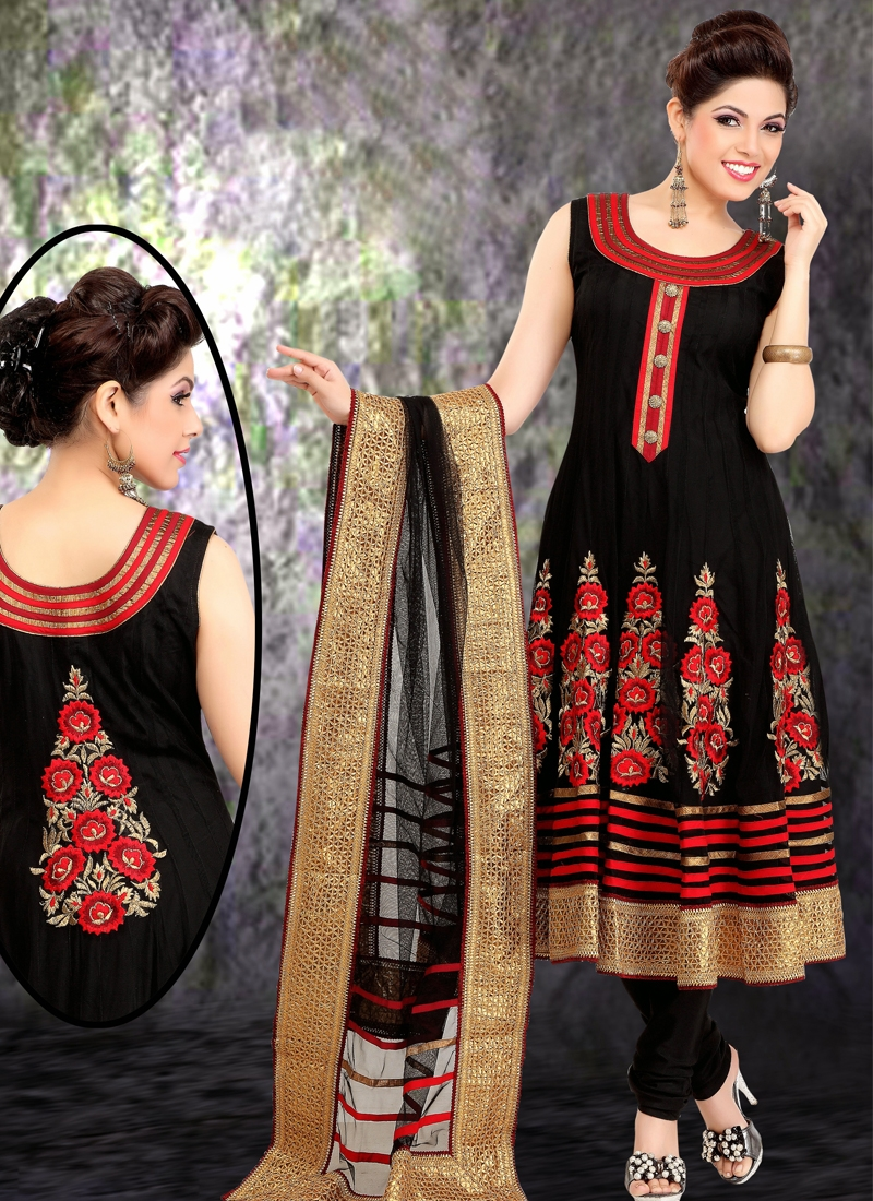 Patch And Lace Work Readymade Anarkali Suit