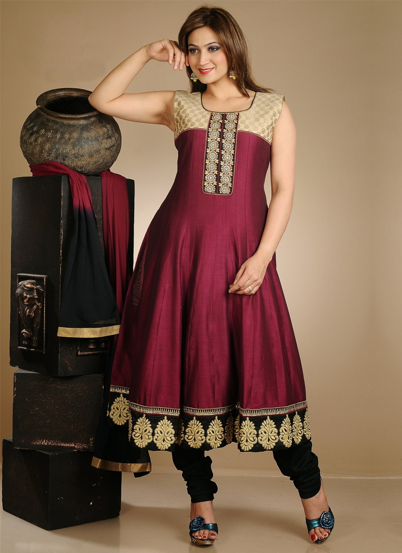 Patch And Resham Work Readymade Anarkali Suit
