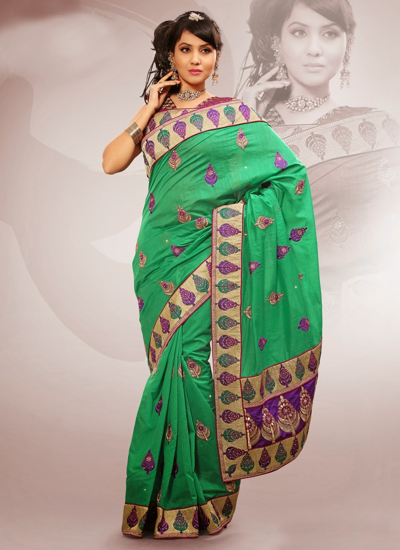 Patch Work Sea Green Color Party Wear Saree