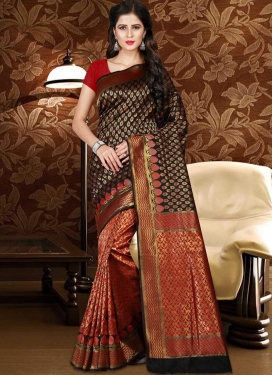 Patola Silk Black and Red Classic Saree