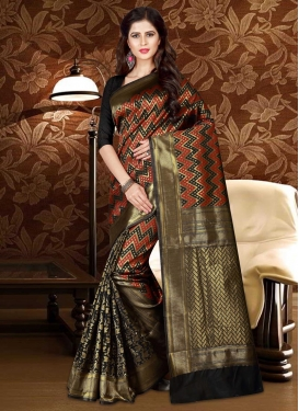 Patola Silk Black and Red Thread Work Classic Saree