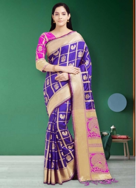 Patola Silk Blue and Rose Pink Designer Contemporary Style Saree For Ceremonial