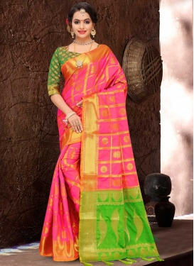Patola Silk Green and Hot Pink Designer Contemporary Style Saree