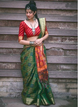 Patola Silk Green and Red Contemporary Style Saree