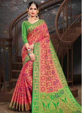 Patola Silk Mint Green and Rose Pink Thread Work Traditional Designer Saree