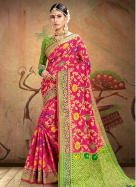 Patola Silk Mint Green and Rose Pink Traditional Designer Saree For Ceremonial