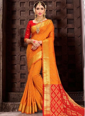Patola Silk Orange and Red Thread Work Trendy Classic Saree