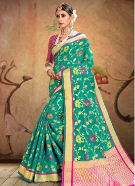 Patola Silk Rose Pink and Sea Green Trendy Saree