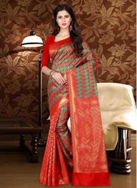 Patola Silk Sea Green and Tomato Trendy Classic Saree
