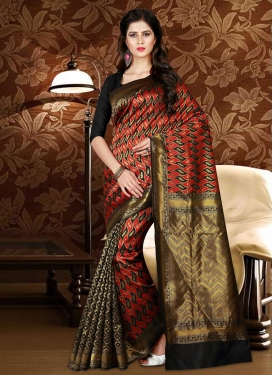 Patola Silk Thread Work Black and Tomato Contemporary Style Saree