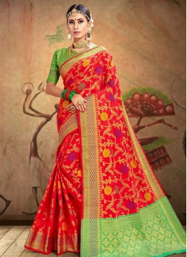 Patola Silk Thread Work Mint Green and Red Trendy Classic Saree