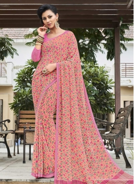 Peach and Pink Faux Georgette Contemporary Saree