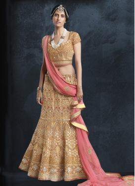Peach and Pink Net Trendy Lehenga