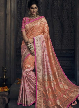 Peach and Pink Trendy Saree