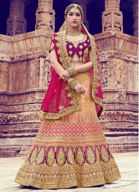 Peach and Purple A - Line Lehenga For Bridal