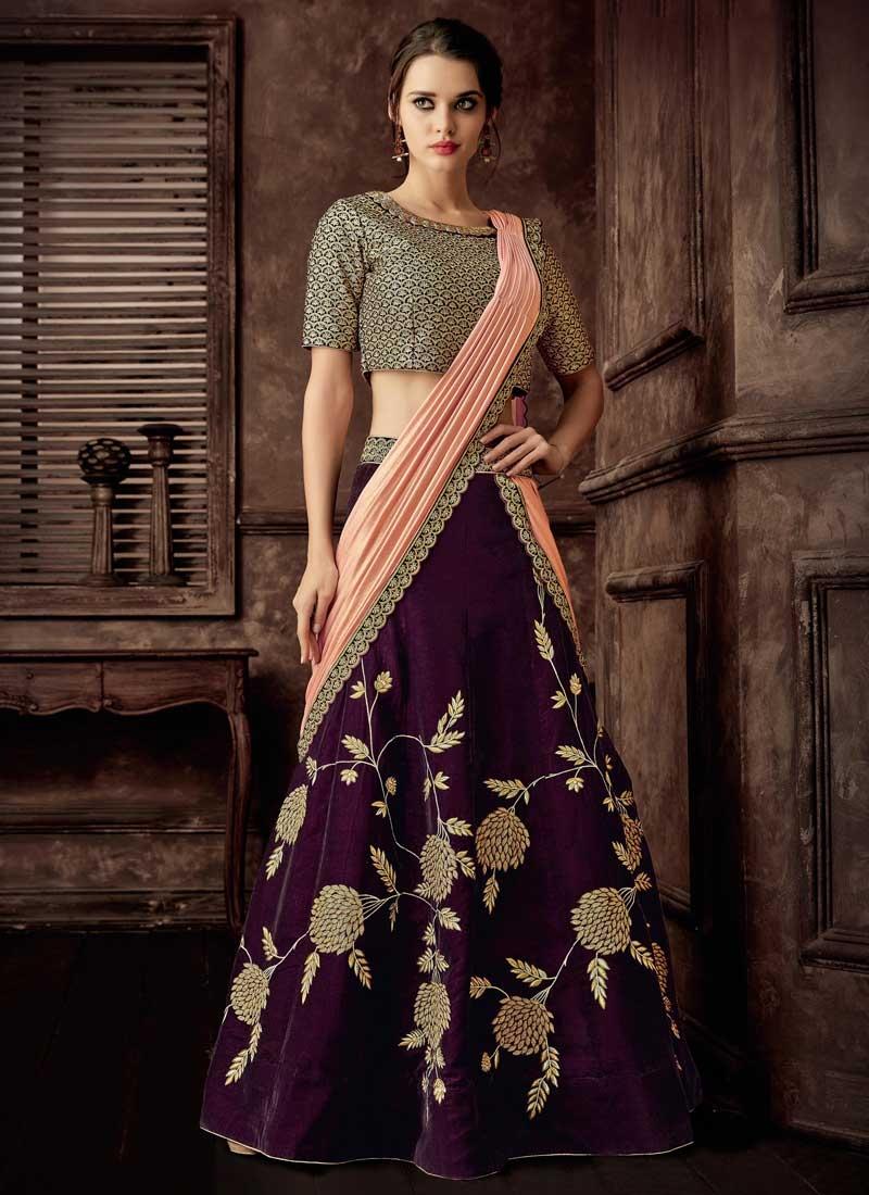Peach and Purple Lycra Designer Lehenga Style Saree