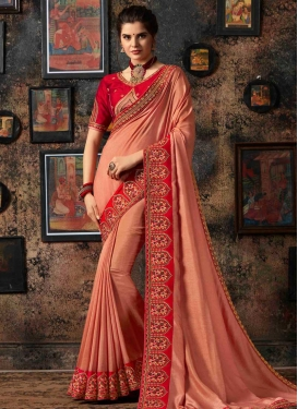 Peach and Red Art Silk Trendy Saree