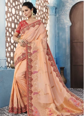 Peach and Red Beads Work Trendy Saree