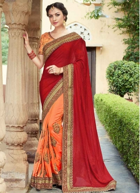 Peach and Red Booti Work Half N Half Designer Saree