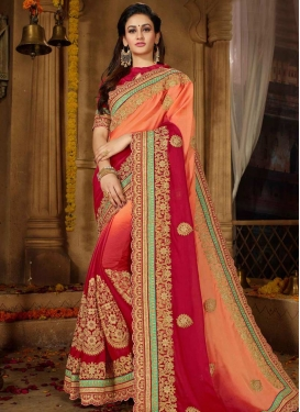 Peach and Red Contemporary Saree