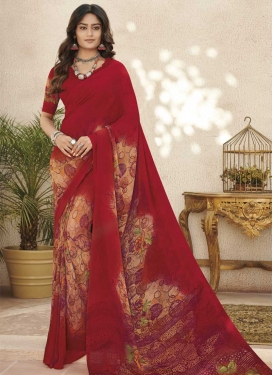 Peach and Red Digital Print Work Faux Georgette Trendy Classic Saree