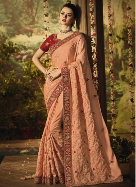 Peach and Red Embroidered Work Designer Contemporary Style Saree