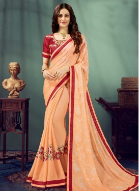 Peach and Red Embroidered Work Traditional Designer Saree